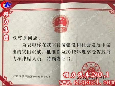 程力集团公司总经理程阿罗获湖北省政府嘉奖,享受省级专家专项津贴人员待遇